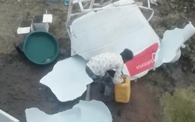 Intensas lluvias rompen uno de nuestros depósito de agua en el campo de Arhab, Yemen