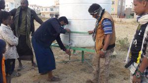 instalación del grifo del nuevo depósito, Yemen