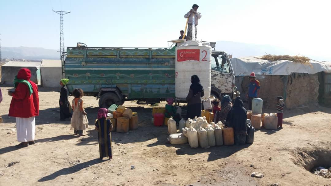 Agua para Yemen, campo desplazados de Raydah