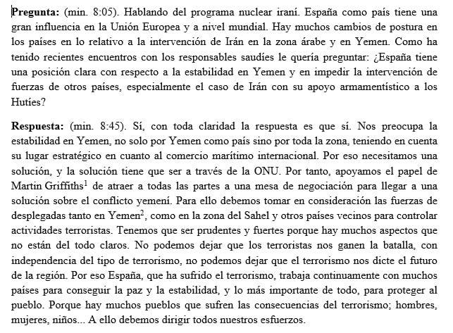 declaraciones del gobierno de España sobre la venta de armamento