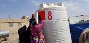 cambio de etiqueta del depóstio de agua en Yemen